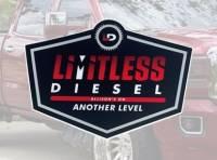 """Limitless Diesel - Red/Black Logo Sticker 5x3.5""""  2-Pack"""