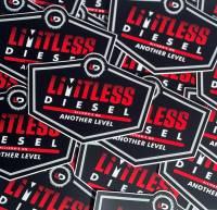 "Limitless Diesel - Red/Black Logo Sticker 5x3.5""  2-Pack - Image 2"